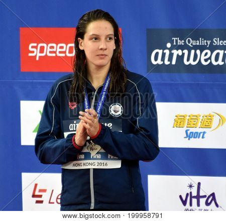 Hong Kong China - Oct 30 2016. FORDE Brooke (USA) at the Victory Ceremony of the Women's Individual Medley 400m. FINA Swimming World Cup