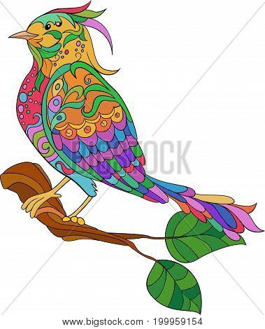 Fantasy bird. hand drawn doodle. Sketch in color for adult antistress coloring page