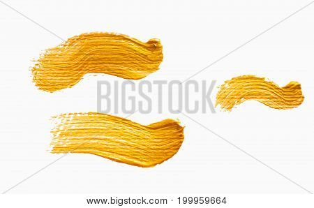 Set of yellow acrylic brushstrokes. Element for different design