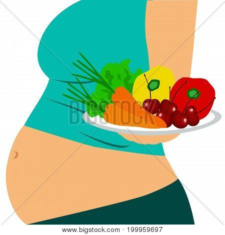 Pregnant woman. Girl with a bowl of fruit. Healthy eating. Healthy Lifestyle. Vector illustration.