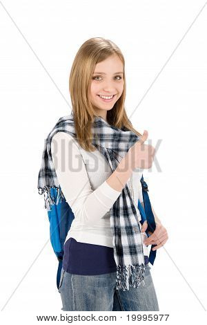 Thumbs Up Student Teenager Woman With Shoolbag