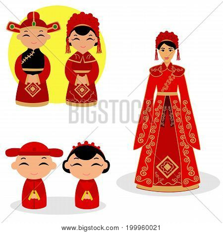 Chinese bride and groom. Chinese Couple In Traditional Wedding Gown. Traditional Chinese bride. Collection. Vector illustration.