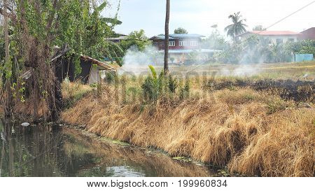 Burn vegetable plots to clearing for replanting near community Has canal and relax agriculturist hut tree straw at Bangboathong Nonthaburi province is suburb of Thailand Asia.
