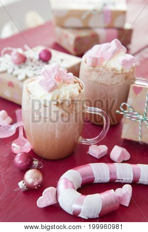 Hot chocolate with marshmallows in a heart shape