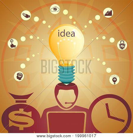 Design with a silhouette of a head, a light bulb, the globe and signs of coins with the silhouette of a dollar, brainstorming, ideas for increasing profits
