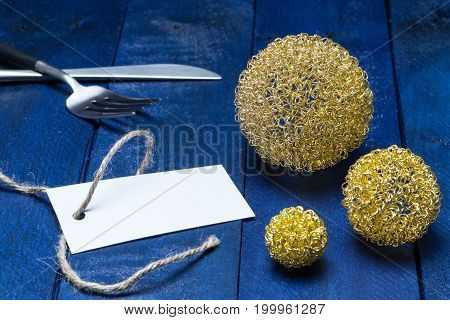 Invitation Card With Cutlery And Decoy Balls