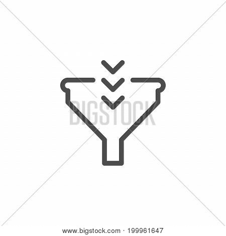 Funnel line icon isolated on white. Vector illustration