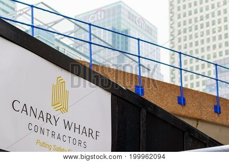 New Development Construction Site In Canary Wharf With Elevated Dlr Rail Track And Citigroup Center