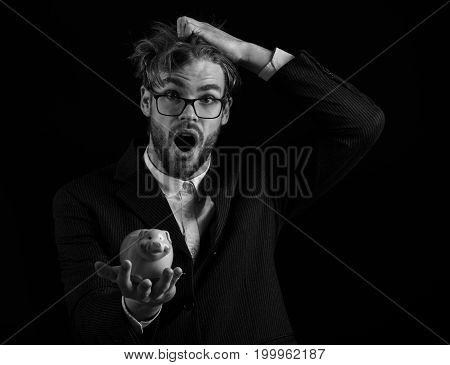 Surprised Business Man In Suit
