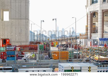 Building Site Of Park Place, A New Office Development In Canary Wharf, With London Cityscape In The