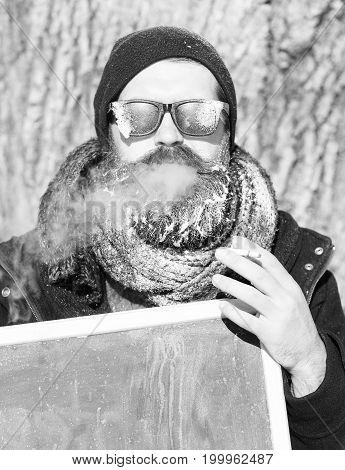 Winter Bearded Man With Board