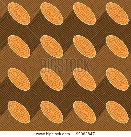 Log Seamless Pattern. Wooden Billet Background. Woodpile Ornament