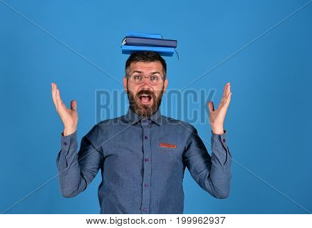 Man With Beard And Books. Knowledge And Studying Concept
