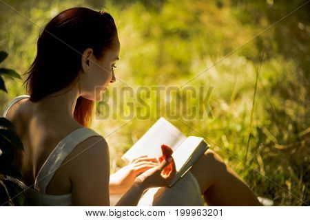 Rear view of attractive woman sitting on grass with book in her hands. Young foxy haired woman reading book in nature. Toned image.