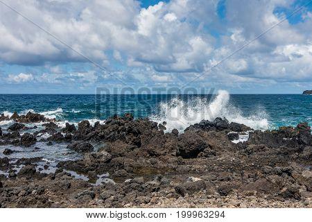 A view of Keanae Point shoreline on Maui Hawaii.