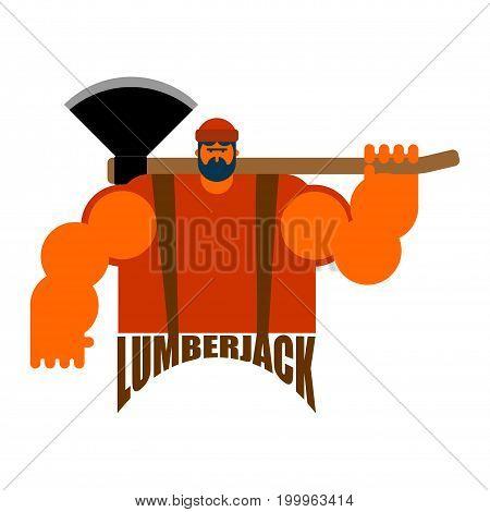 Lumberjack Logo. Woodcutter Sign. Lumberman Symbol. Feller With Beard And Axes.