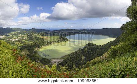 Beautiful lake of Furnas, Azores Portugal