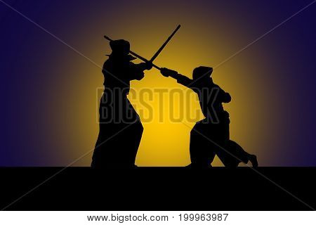 Japanese Kendo Fighters With Bamboo Swords, High Contrast