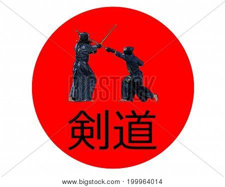 Japanese Kendo Fighters With Bamboo Swords On Japan Flag