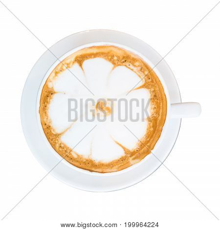 Hot coffee and white flower foam topping isolated on white