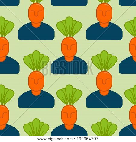 Office Vegetables Garden Seamless Pattern. Manager Of Carrots. Vegetable Department At Office Backgr