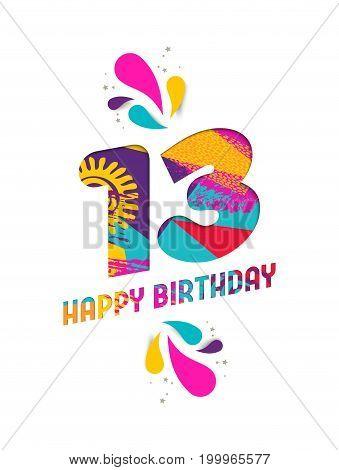 Happy Birthday 13 Year Paper Cut Greeting Card