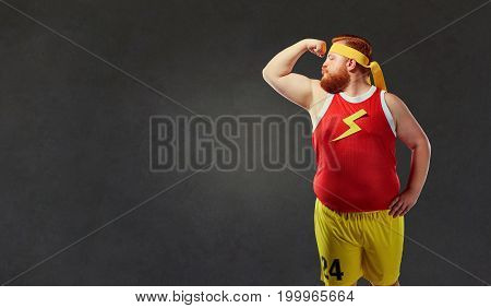 Big fat naked man in sports clothes.
