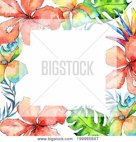 Tropical Hawaii leaves palm tree frame in a watercolor style. Aquarelle wild flower for background, texture, wrapper pattern, frame or border.