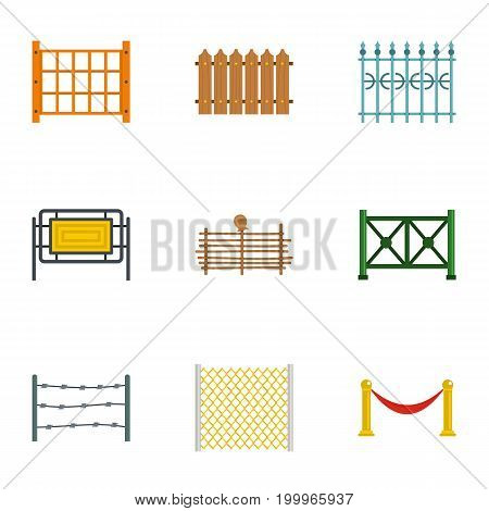 Types of fence icons set. Flat set of 9 types of fence vector icons for web isolated on white background