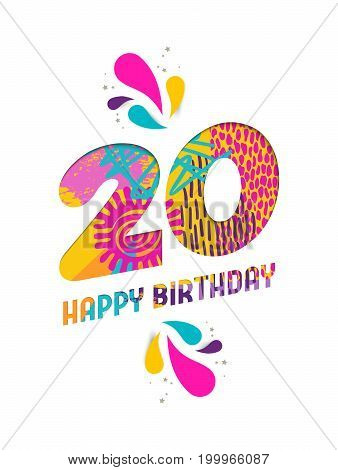 Happy Birthday 20 Year Paper Cut Greeting Card