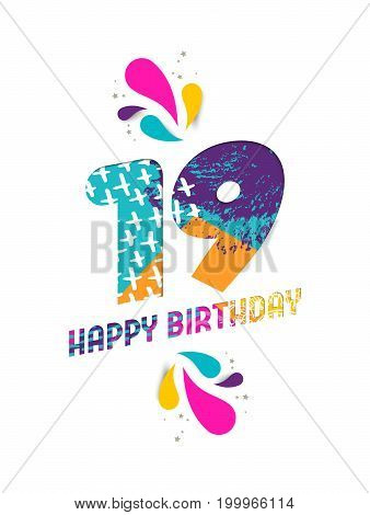 Happy Birthday 19 Year Paper Cut Greeting Card