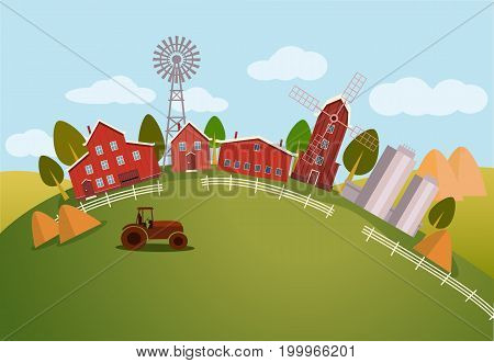 Farm scenic view or panorama with barn and window mill, tractor on hill and wind turbine, . Rural countryside or nature meadow. Cartoon village, farming and agricultural, village and farming theme