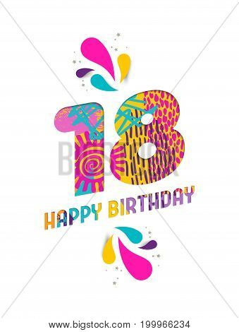 Happy Birthday 18 Year Paper Cut Greeting Card