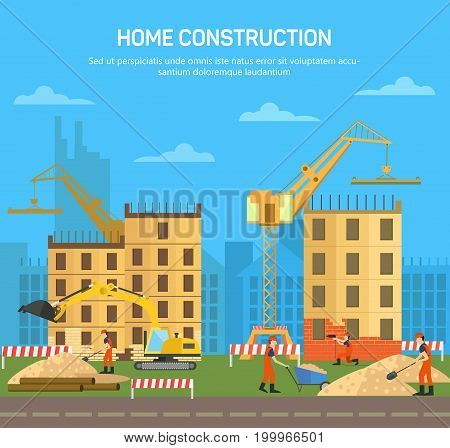 Building or house, home or skyscraper construction. City or town architecture business with structures under constructions, crane and excavator machine. Architect scene and industrial theme