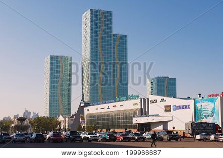 ASTANA, KAZAKHSTAN - SEPTEMBER 25, 2011: View to the modern buildings of the Grand Alatau residential complex in Astana, Kazakhstan.