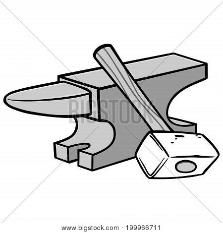 A vector illustration of a Anvil and Sledgehammer.