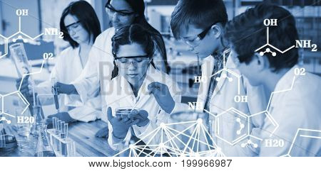 Chemical structure against white background against attentive school kids doing a chemical experiment in laboratory