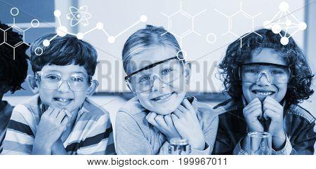Illustration of chemical formulas against portrait of kids in laboratory
