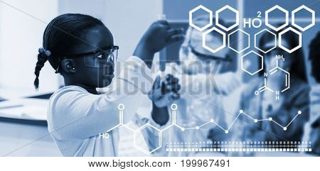 Digital image of chemical structure against kids doing a chemical experiment in laboratory