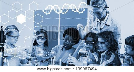 Illustration of chemical structure against teacher assisting kids in laboratory
