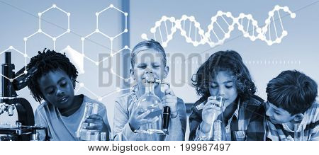 Illustration of chemical structure against kids doing a chemical experiment in laboratory