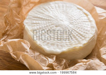 Cheese wheel, fresh homemade indian paneer on wooden board, close-up