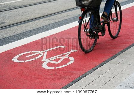 street with designated bike lane or cycle highway