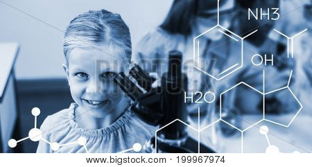 Composite image of chemical structure against schoolgirl holding microscope in laboratory