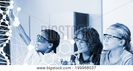 DNA helix structure against white background against kids doing a chemical experiment in laboratory