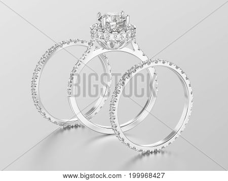 3D illustration three different white gold or silver eternity band diamond rings and romantic engagement ring with reflection on a white background