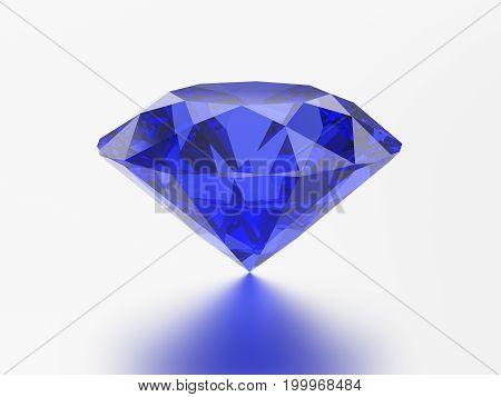 3D illustration blue emerald round diamond sapphire gemstone with reflection on a grey background