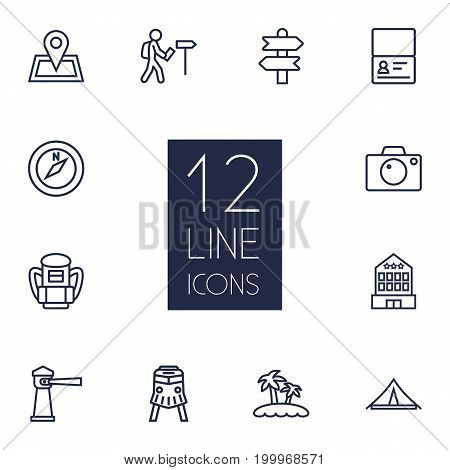 Collection Of Certificate, Front View Tram, Palm And Other Elements.  Set Of 12 Relax Outline Icons Set.