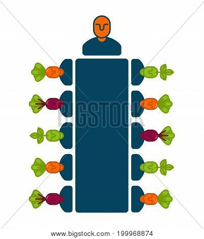Meeting Office Icon. Managers At Table. Boss And Subordinates. Business Concept. Illustration For Bu