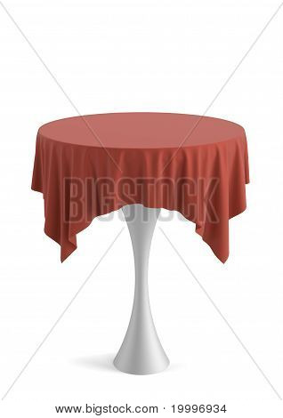 Table covered with cloth.